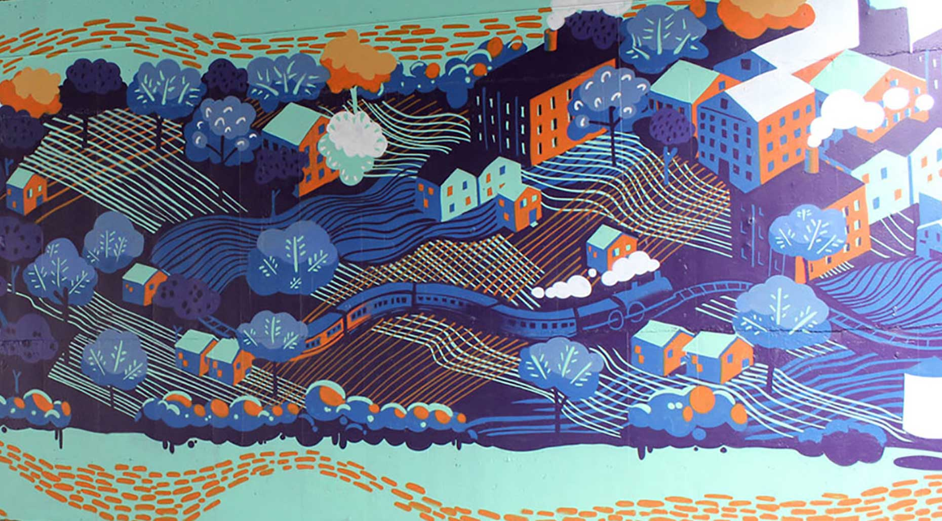 Painted wall mural with houses, trees and a train by Dinalie Dabarera for the City of Canada Bay. Image supplied by Dinalie Dabarera