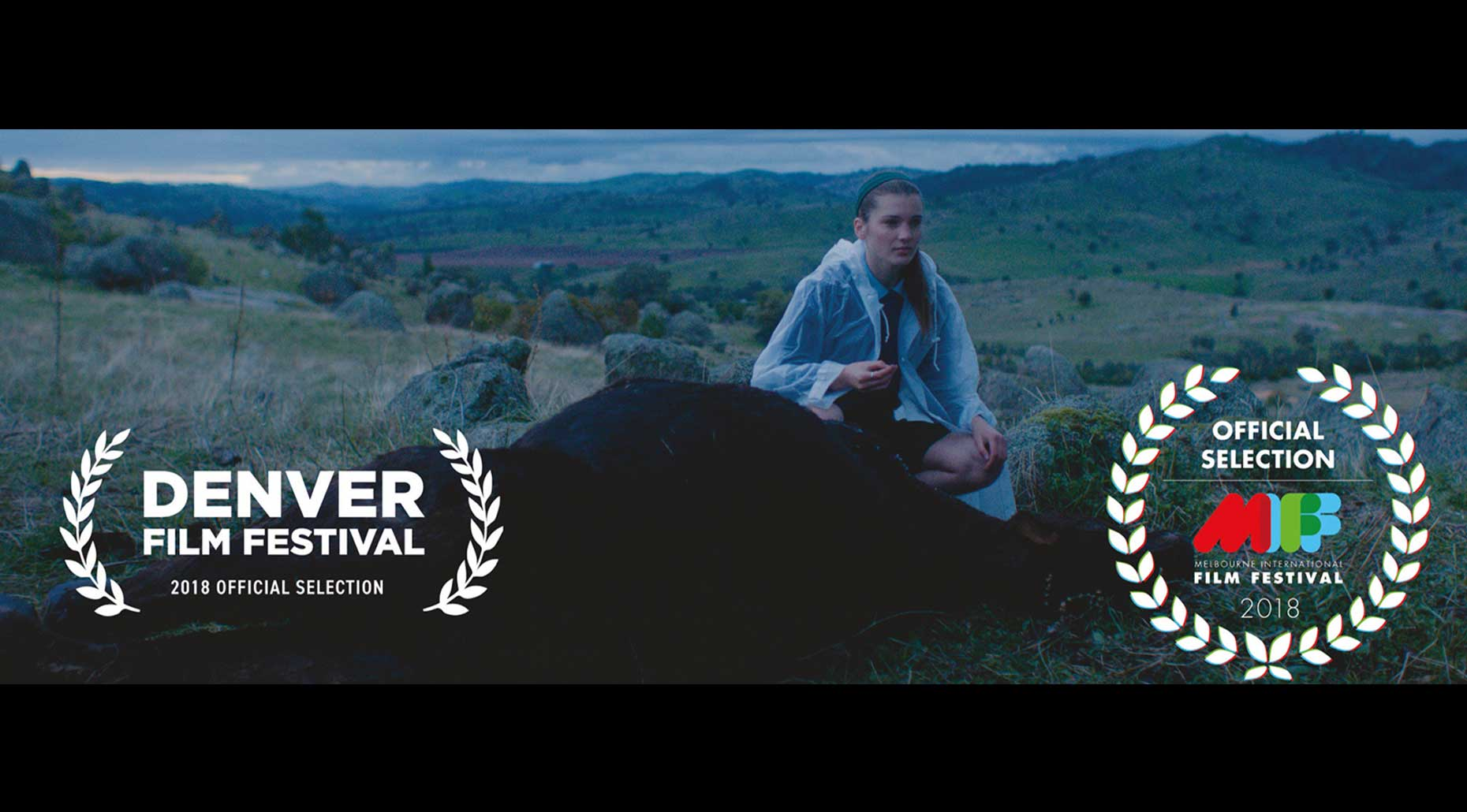 A woman sitting in a landscape and two award logos. Image supplied by Filmmaking Collective.