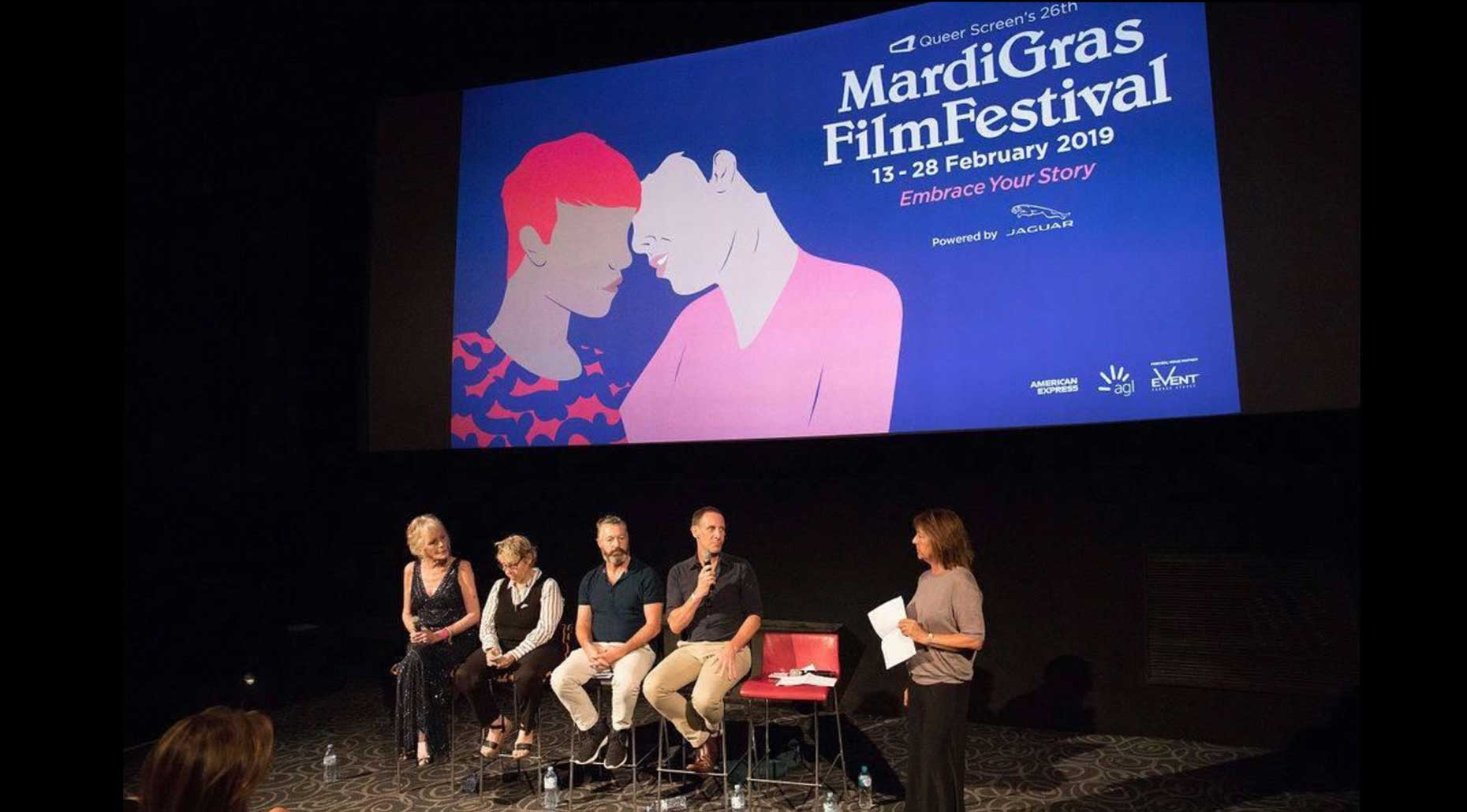 A panel of people in cinema at the Queer Screen Mardi Gras Film festival 2019. Image supplied by Queer Screen.