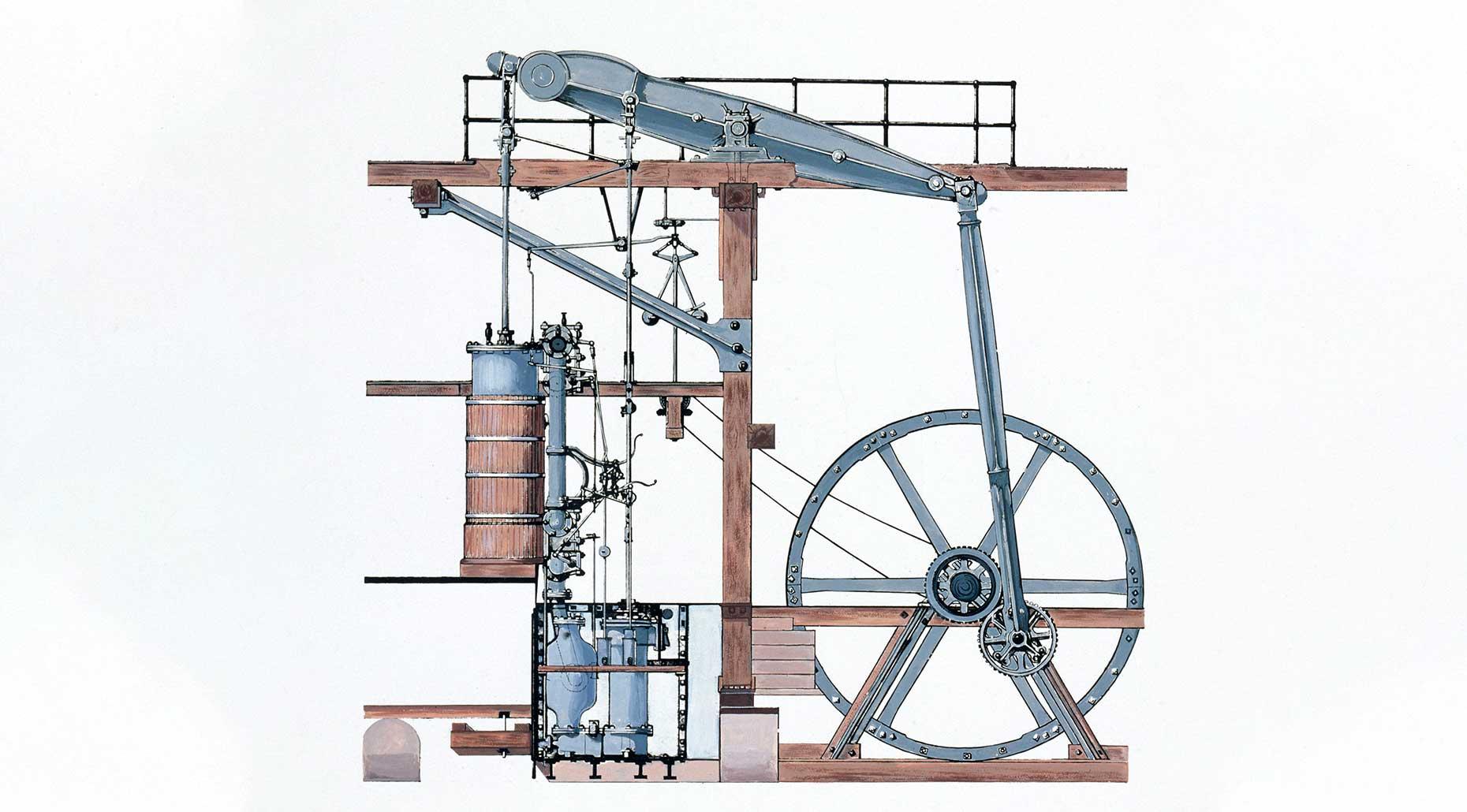 Boulton and Watt rotative steam engine, 1785, manufactured by Matthew Boulton and James Watt, England. Powerhouse Collection.