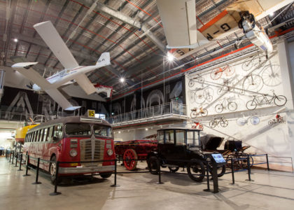 Bus, aircraft, cars and bikes in store 3 at Museums Discovery Centre, Castle Hill