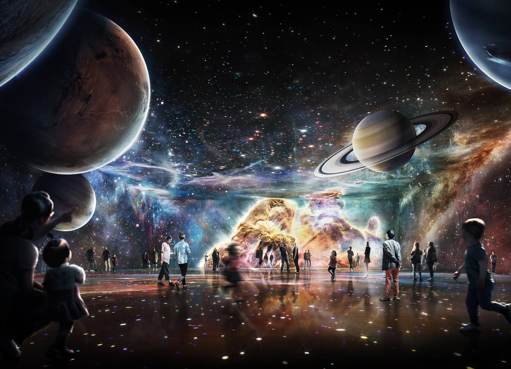 Interior artist render of people viewing planets and stars at Powerhouse Parramatta.