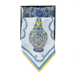 A persian blue scarf with an image of a mozaic jug
