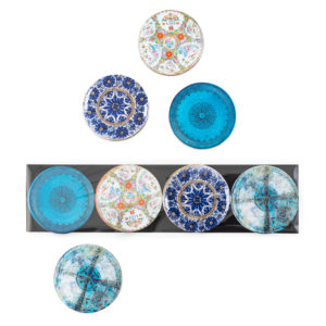 Eight colourful persian mozaic magnets made from ceramic