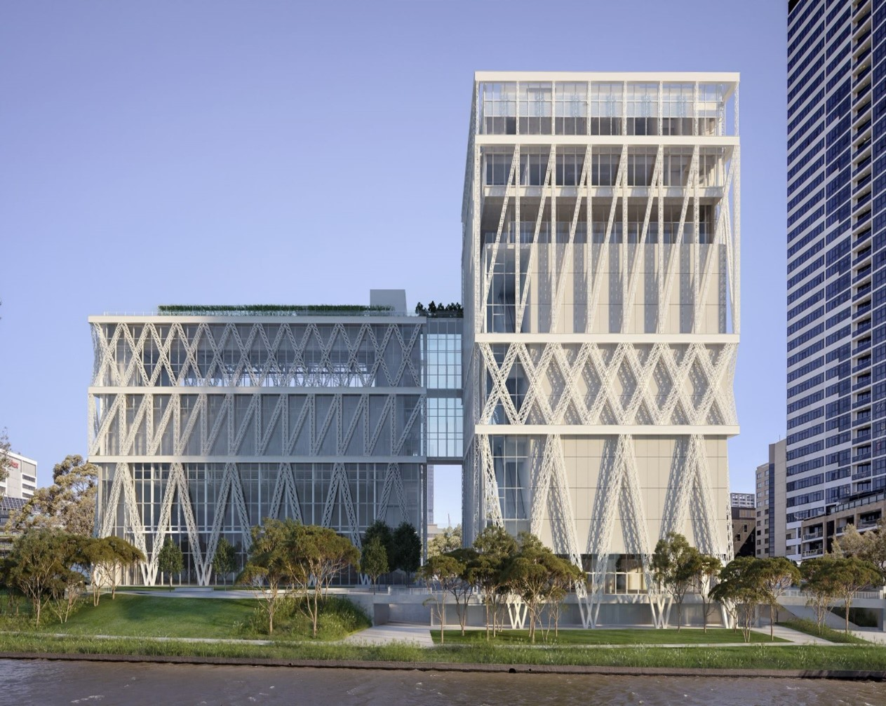 Image render of Parramatta Building, white high building with geometic shapes amongst blue skies and green