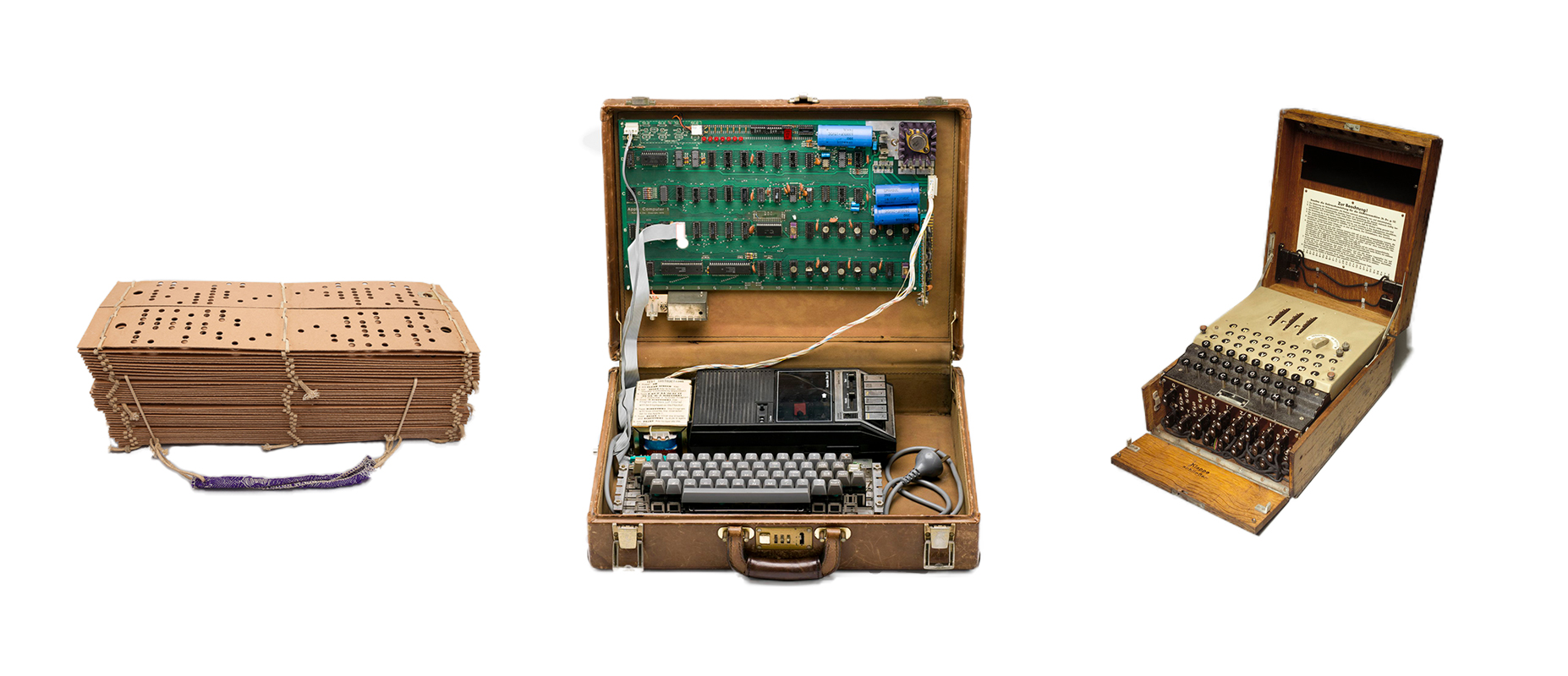 Jacquard punch cards with sample of ribbon, Apple I Computer and Enigma cipher machine